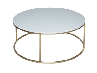 Gillmore Space Kensal White and Brass Circular Coffee Table