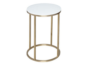 Gillmore Space Kensal White and Brass Circular Side Table