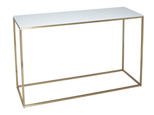 Gillmore Space Kensal White and Brass Console Table