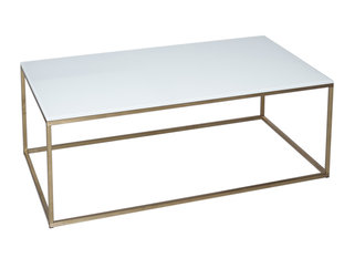 Gillmore Space Kensal White and Brass Rectangle Coffee Table