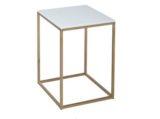 Gillmore Space Kensal White and Brass Square Side Table
