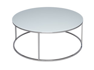 Gillmore Space Kensal White and Steel Circular Coffee Table