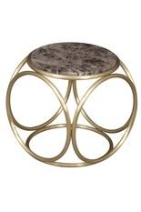 Hamilton Conte Brass Rings Side Table/Stool Marble Top