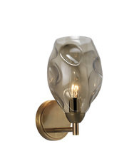 Heathfield Leoni Antique Brass Smoke Glass Wall Light