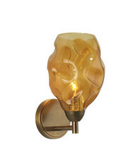 Heathfield Leoni Antique Brass Amber Glass Wall Light