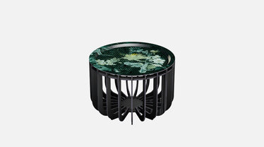IBride Brushed Black Medusa 46 Outdoor Coffee Table & Emerald Tray
