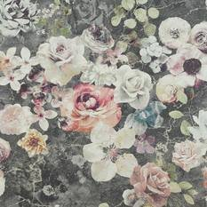 Jane Churchill Marble Rose Charcoal Wallpaper