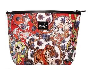 "Jessica Russel Flint ""Crazy Circus"" X-L Canvas and Leather Washbag"