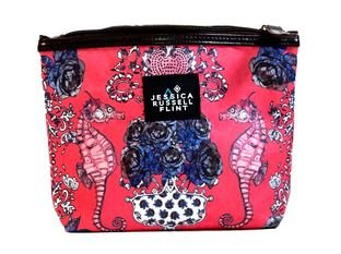 Jessica Russel Flint Seahorses in the Rose Garden X-L Canvas and Leather Washbag