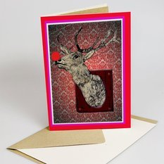 "Jessica Russel Flint Signature JRF ""CAN.YOU.SEE.BEYOND.THE.END.OF.YOUR.NOSE Reindeer christmas card set"