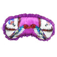 "Jessica Russel Flint Silk Sleep Mask, ""Love Birds"" with Silk Ruffle Trim"
