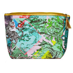 "Jessica Russel Flint ""Soft Japan"" Canvas and Leather Washbag"
