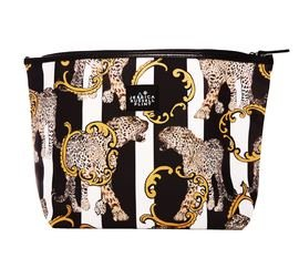 "Jessica Russel Flint ""Striped Leopard"" X-L Canvas and Leather Washbag"
