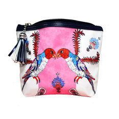 "Jessica Russel Flint ""The Love Birds"" Canvas and Leather Washbag"