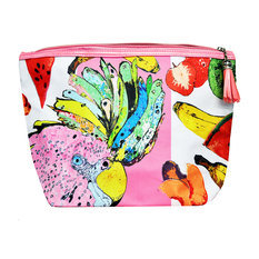 "Jessica Russel Flint ""The Punky Parrot"" Canvas and Leather Washbag"