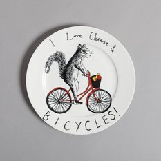 Jimbobart I Love Cheese And Bicycles Side Plate