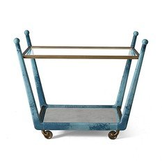 Julian Chichester Rosa Azure Blue High Gloss Vellum Trolley
