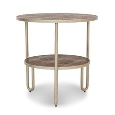 Julian Chichester Tubular Brown Vellum & Frank Metal Side Table