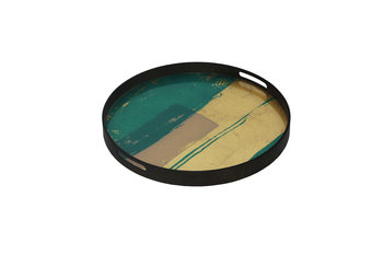 Notre Monde Turquoise Abstract Tray