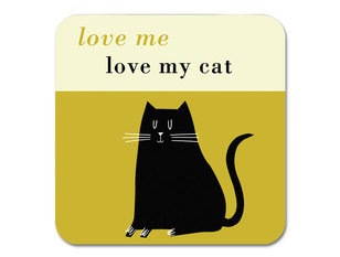 Repeat Repeat Happiness Black Cat Olive Coaster