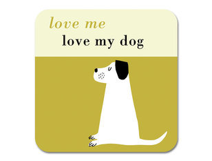 Repeat Repeat Happiness Dog Olive Coaster