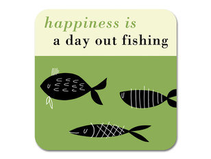 Repeat Repeat Happiness Fishing Green Coaster