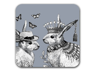 Repeat Repeat Sunday Best Rabbits Grey Coaster