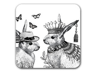 Repeat Repeat Sunday Best Rabbits White Coaster