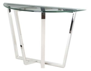 R V Astley Brenzette Stainless Steel Tempered Glass Half Moon Console