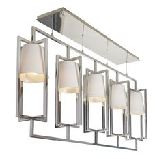R V Astley Hurricane Nickel Finish 5 Light Long Chandelier