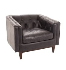 R V Astley Natty Oxford Black Leather Chair