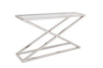R V Astley Nico Console Table in Stainless Steel