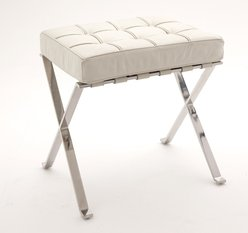 R V Astley White Leather Stool