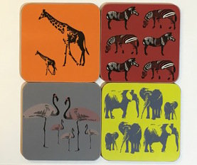 Space 1a Design Mixed Safari Animal set of 4 Coaster