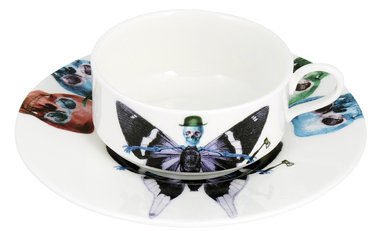 The New English Lepidoptera Vis Mocha Cup & Saucer
