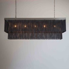 Tigermoth Black Chain and Bronze Rectangular Chandelier