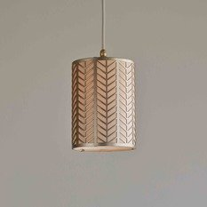 Tigermoth Mini Pendant Light with Gold Lattice with Silk Orchid Shade