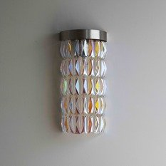 Tigermoth Petrol Crystal with Flat Nickel Maxi Crescent Wall Light