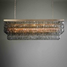 Tigermoth Smoke Crystal with Gold Rectangular Chandelier