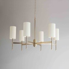 Tigermoth Stem Gold Chandelier with Ivory Silk