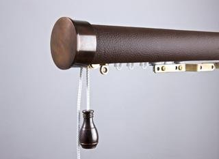 Tillys Wrapped Pole in Faux Brown Leather/classic end cap bronze finials