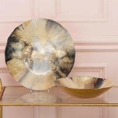 Tozai Nuit d'Or Set of 2 Gold & Black Bowls