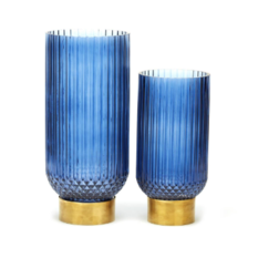 Tozai Blue Ribbed Candle Holder/Vase
