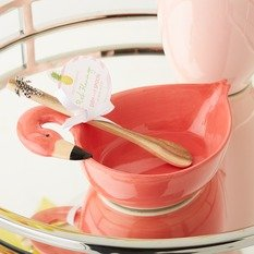 Twos Company Flamingo Dish with Wooden Spoon