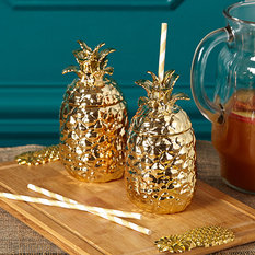 Twos Company Gold Pineapple Drinking Cup with Lid