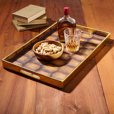Twos Company Gold Rimmed Tortoise Pattern Tray