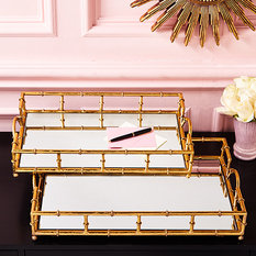 Twos Company Mirrored Glass Tray