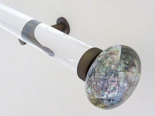 Walcot House 50mm Acrylic and Brushed Bronze Curtain Pole with Riva Ellipse Mother Of Pearl Finials