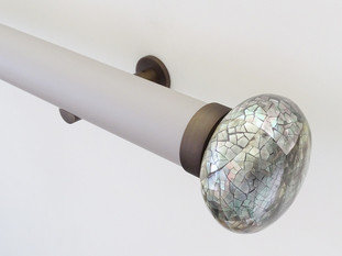 Walcot House 50mm Matt Lacquered Oyster and Brushed Bronze Curtain Pole with Riva Ellipse Mother of Pearl Finials