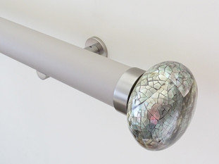 Walcot House 50mm Matt Lacquered Oyster Curtain Pole with Riva Ellipse Mother of Pearl Finials